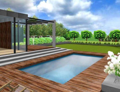 Projekt ogrodu z basenem i sauną