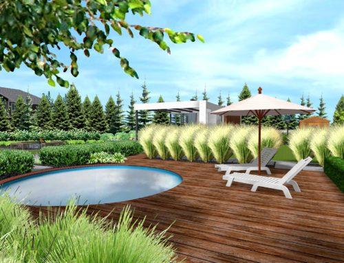 Projekt ogrodu z basenem, jacuzzi i sauną.