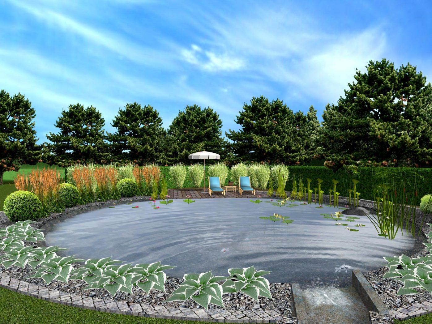 Projekt ogrodu z kaskadą wodną