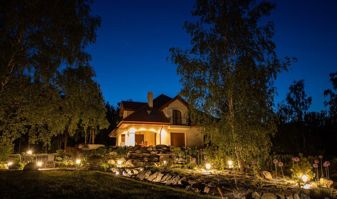 Ogród nocą.