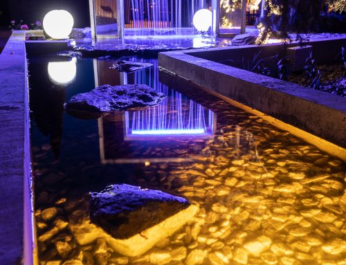 Oczko wodne z kaskadą i fontanną